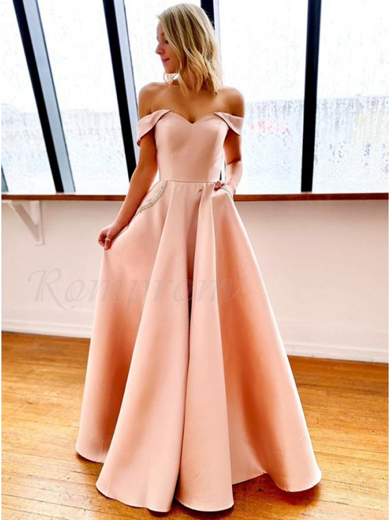 Off the Shoulder Long Prom Dress with Pockets Pink Prom Gown