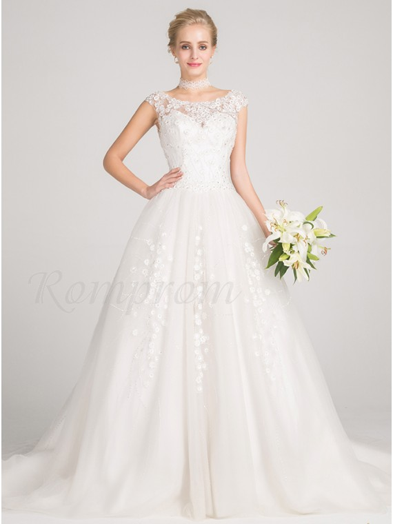 Ball Gown Cap Sleeves Chapel Train Buttons Wedding Dress with ...