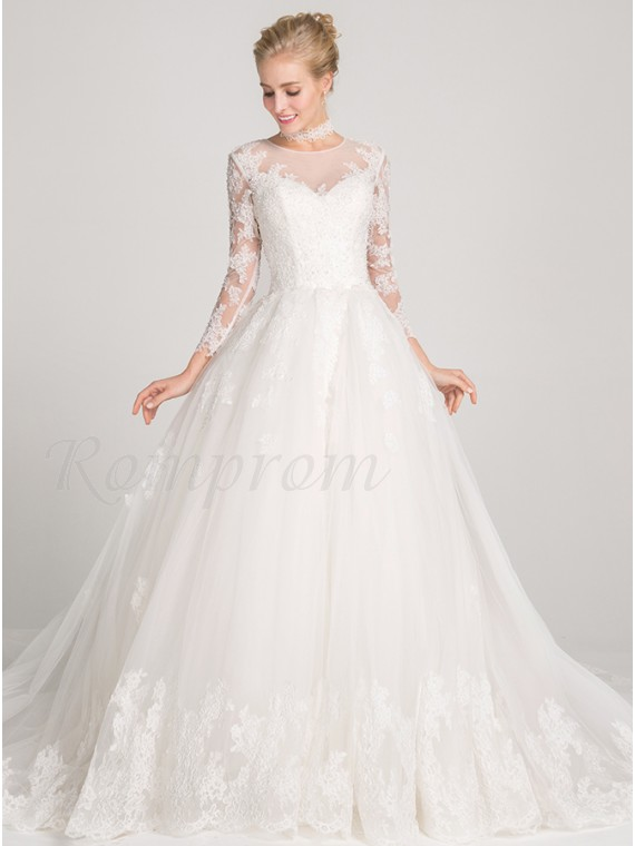 Ball Gown 34 Sleeves Chapel Train Open Back Wedding Dress With