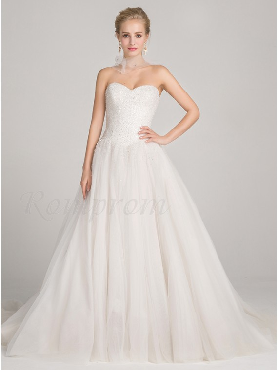 Ball Gown Sweetheart Court Train Lace Up Wedding Dress With Beading Sequins