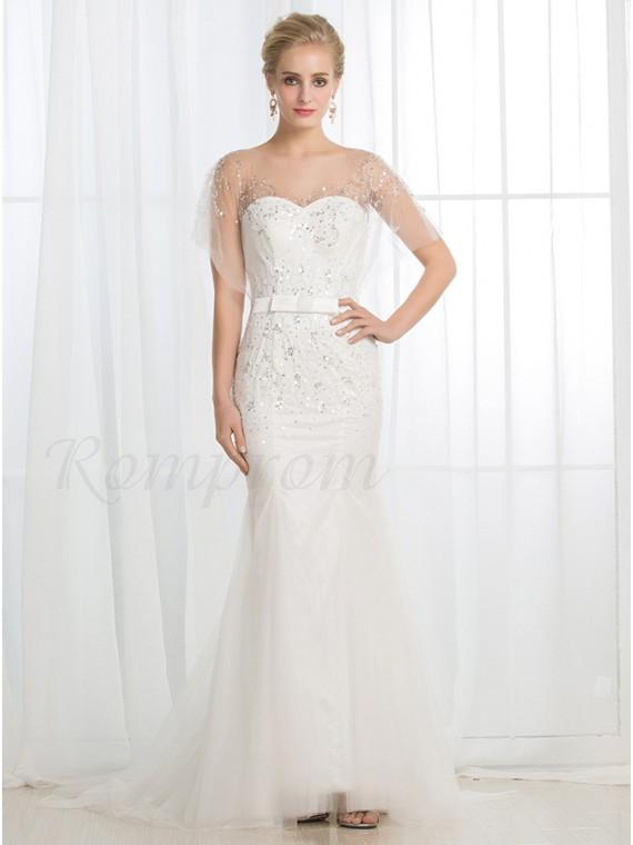 Mermaid Bateau Sweep Train Buttons Wedding Dress with Sequins Sash