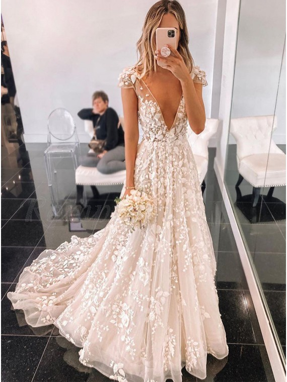 A-Line White V-Neck Cap Sleeves Wedding Dress with Sweep Train