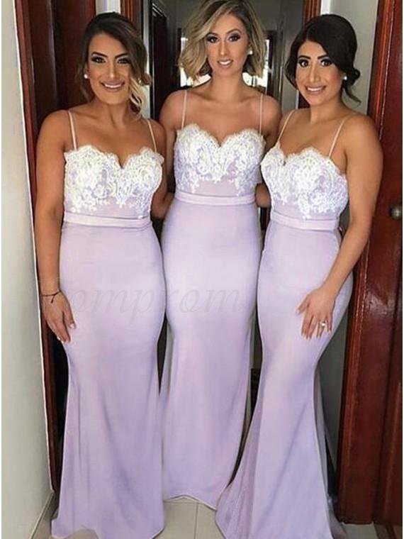 Mermaid Spaghetti Straps Lilac Backless Bridesmaid Dress with Lace Sash