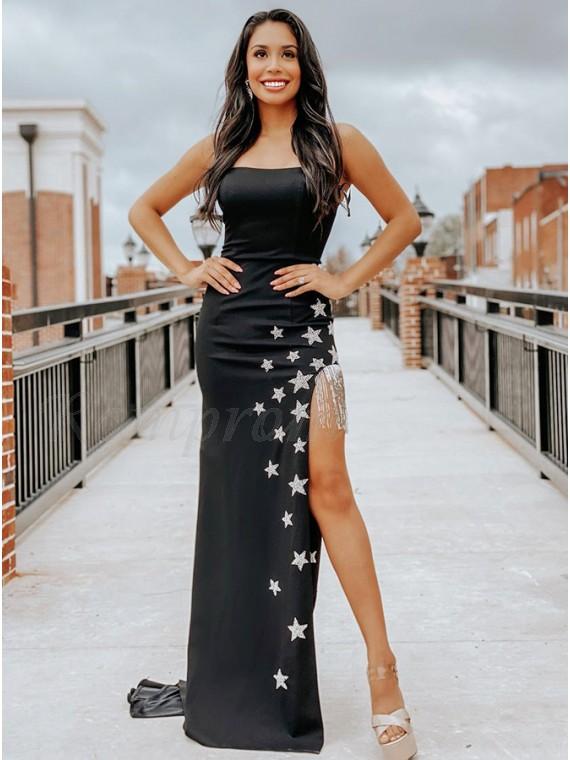 Black Satin Appliques Prom Dress