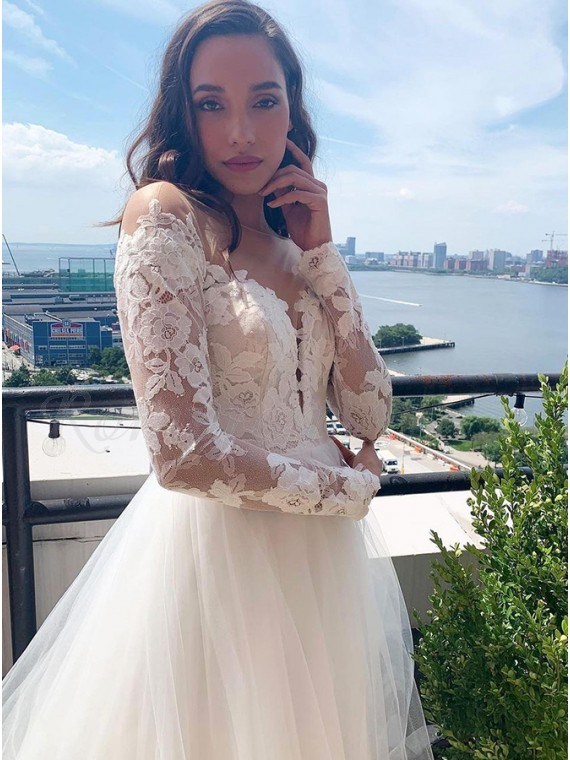 A-Line V-Neck Open Back Appliques Wedding Dress with Long Sleeves