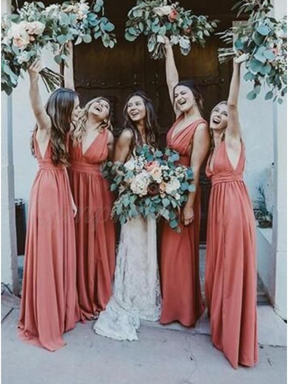 A-Line V-Neck Sleeveless Long Rust Bridesmaid Dress