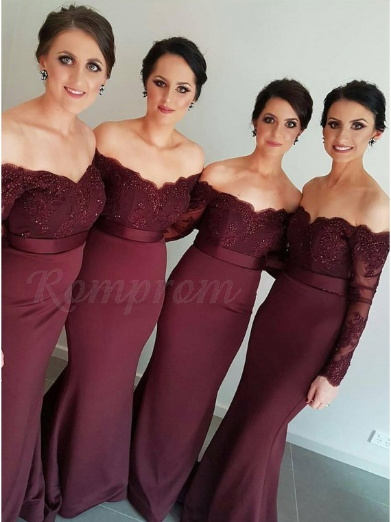 Mermaid Off The Shoulder Long Sleeves Beaded Burgundy Bridesmaid Dress With Lace