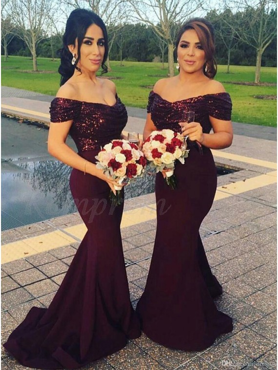 Mermaid Off The Shoulder Burgundy Elegant Bridesmaid Dress With Sequins