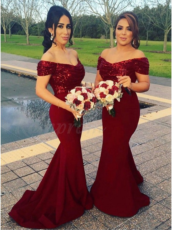 237712d4698 Mermaid Off-the-Shoulder Burgundy Elegant Bridesmaid Dress with Sequins