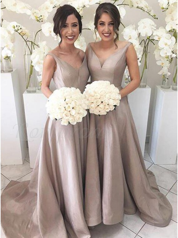 A-Line V-Neck Sleeveless High Low Sweep Train Silver Bridesmaid Dress