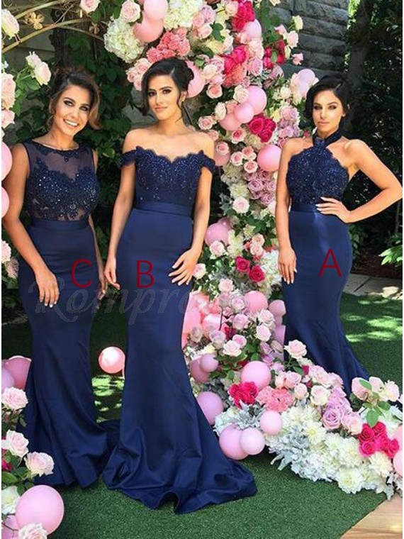 Mermaid Halter Backless Royal Blue Bridesmaid Dress with Lace Beading