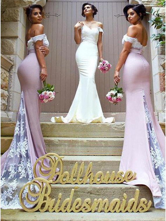 Mermaid Off the Shoulder Sweep Train Bridesmaid Dress with Lace Top Sash