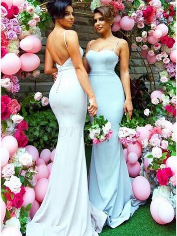 Mermaid Spaghetti Straps Sweep Train Backless Blue Bridesmaid Dress