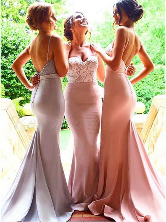 Mermaid Spaghetti Straps Backless Pink Bridesmaid Dress with Lace Sash