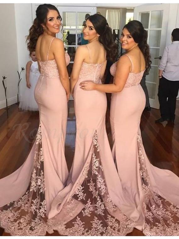 Mermaid Spaghetti Straps Court Train Peach Bridesmaid Dress with Lace