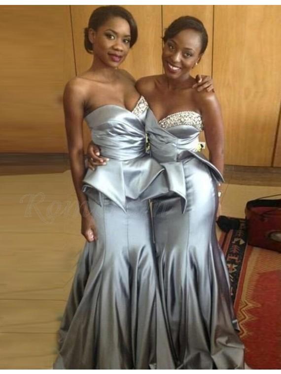 1e09cd8047 Mermaid Sweetheart Sweep Train Silver Bridesmaid Dress with Beading ...