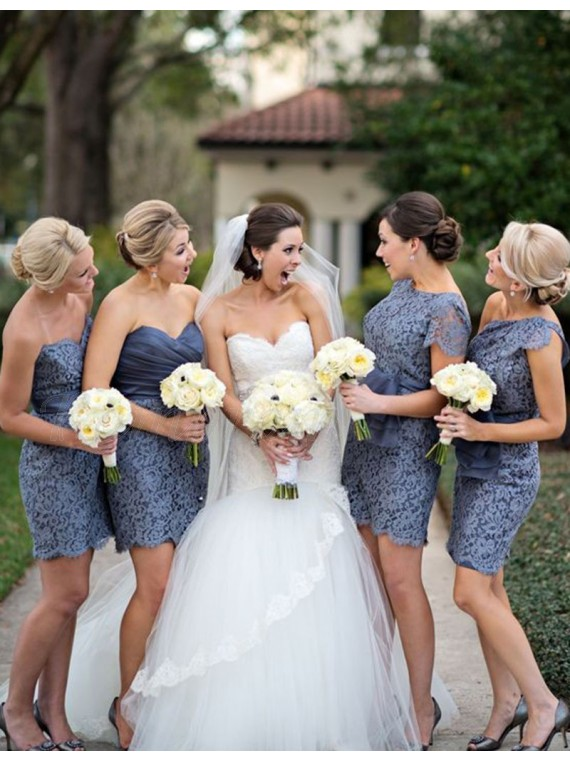 Sheath Sweetheart Short Gray Lace Bridesmaid Dress with Sash