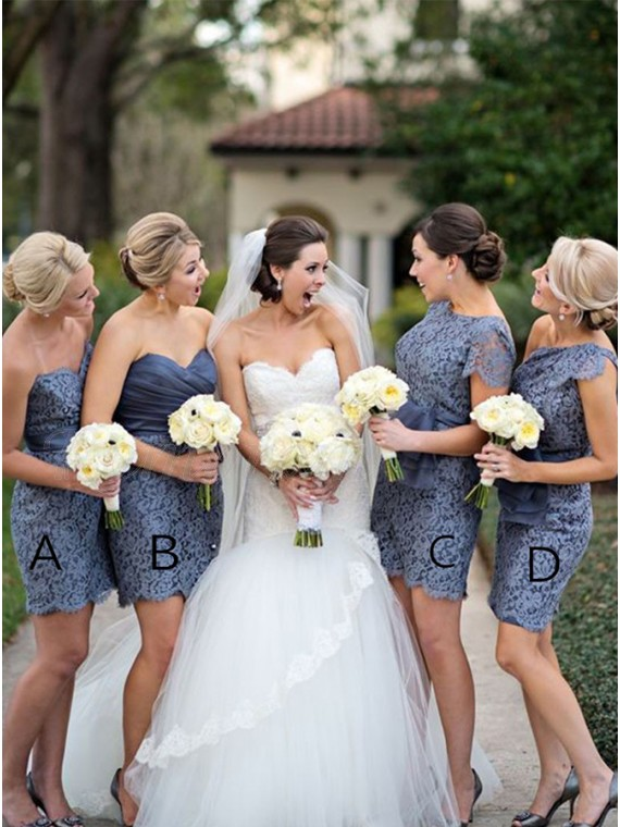 Sheath Sweetheart Short Lavender Lace Bridesmaid Dress with Sash