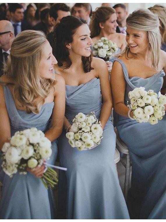 A-line One Shoulder Floor Length Ruched Bridesmaid Dress
