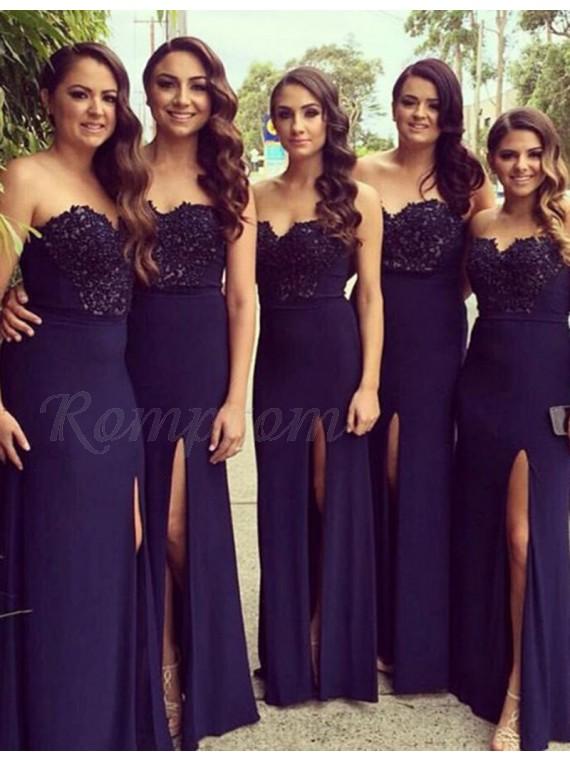 Sheath Sweetheart Floor Length Navy Blue Bridesmaid Dress With Beading Split