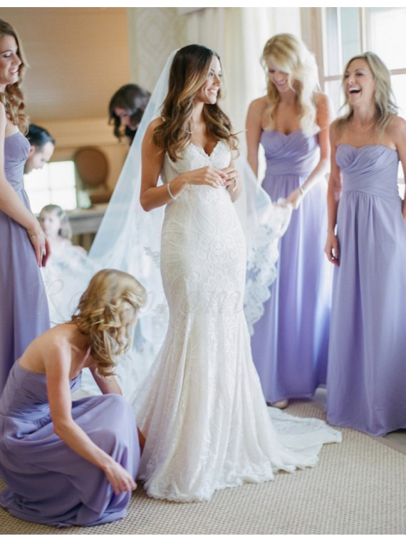 A-line Sweetheart Floor Length Ruched Lavender Bridesmaid Dress ...