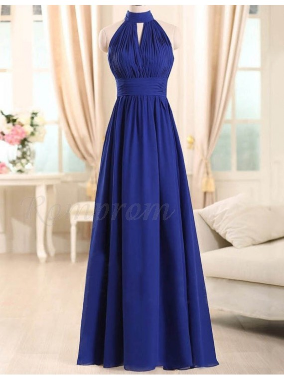 A Line High Neck Long Royal Blue Keyhole Pleated Bridesmaid Dress