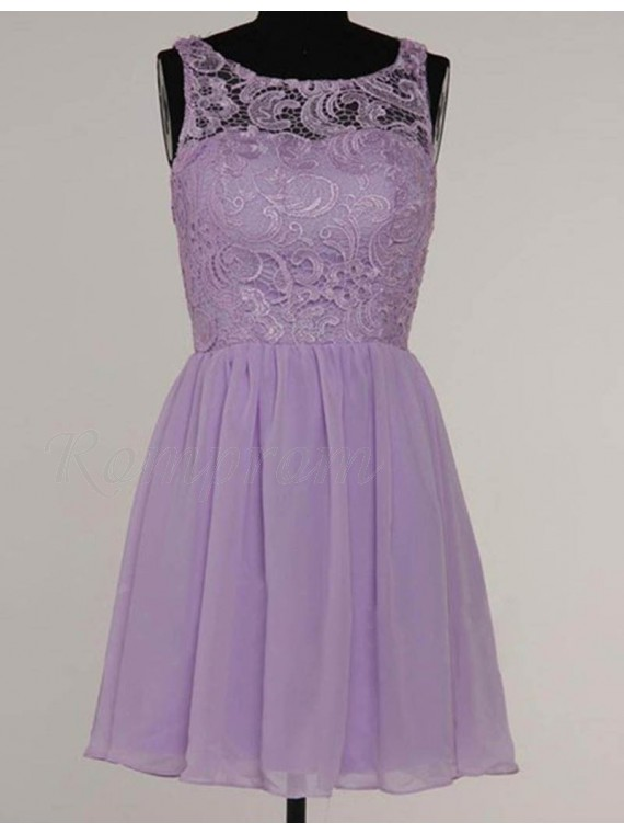 A Line Bateau Sleeveless Short Lavender Bridesmaid Dress With Lace