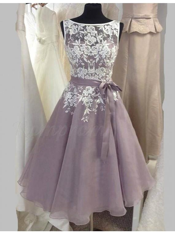 A Line Bateau Mid Calf Grey Bridesmaid Dress With Sash Lace Top