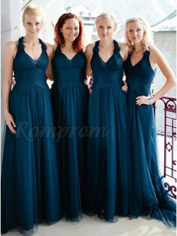 A-Line V-Neck Dark Blue Tulle Bridesmaid Dress with Ruched