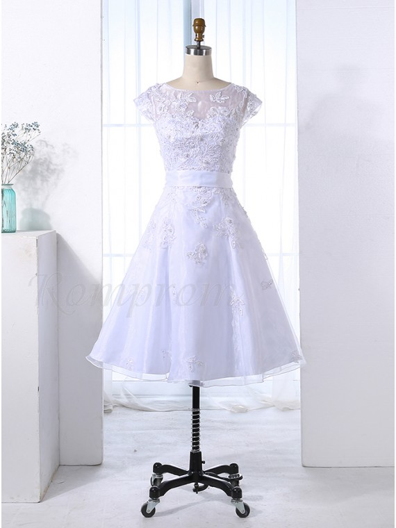 A-Line Bateau Lace-Up White Organza Prom Dress with Appliques Pearls ...