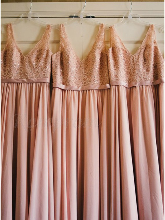 A-Line V-Neck Pearl Pink Chiffon Bridesmaid Dress With Lace Sequins