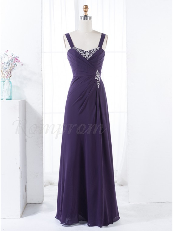 A-Line Straps Floor-Length Ruched Dark Purple Bridesmaid Dress with ...