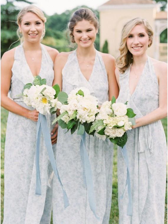 Sheath Halter Backless Floor-Length Light Blue Bridesmaid Dress with Ruffles