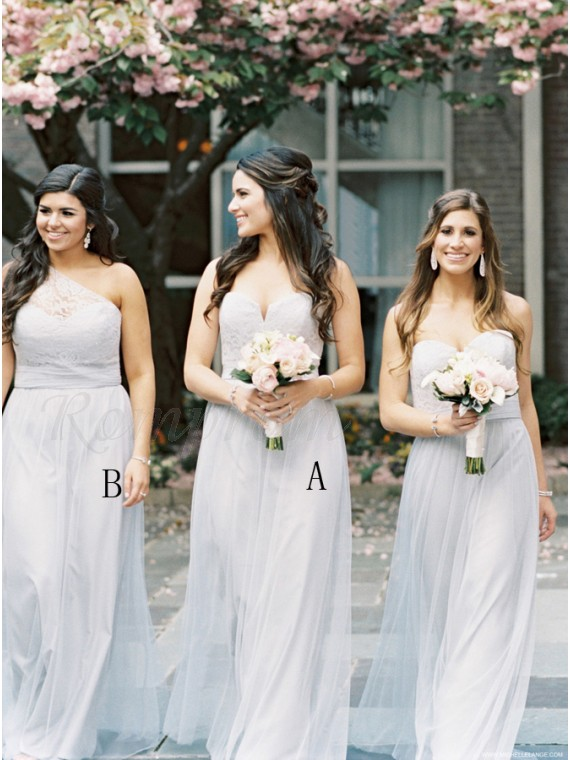 A Line Sweetheart Floor Length Light Grey Bridesmaid Dress With Lace