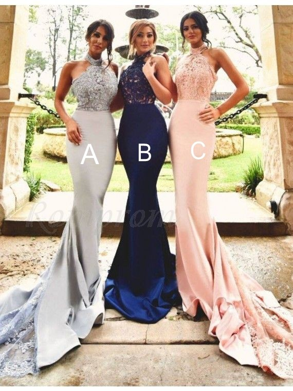 Stunning Halter Long Backless  Mermaid Bridesmaid Dress with Lace