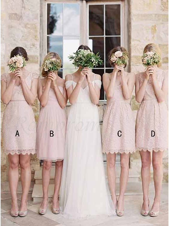 Sheath V Neck Cap Sleeves Above Knee Pearl Pink Lace Bridesmaid Dress