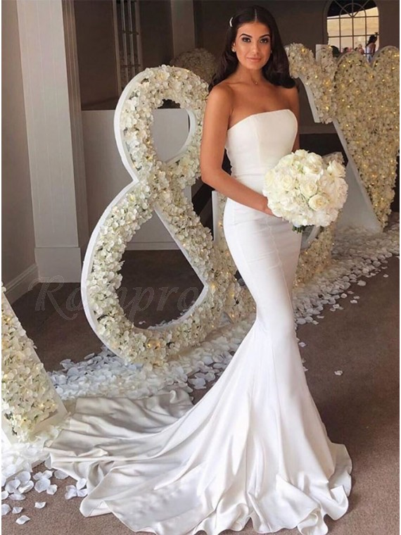Strapless Mermaid Long Wedding Party Dress White Bridesmaid Dress