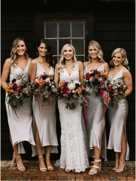 Sheath V-Neck Simple Backless Silver Bridesmaid Dress with Split