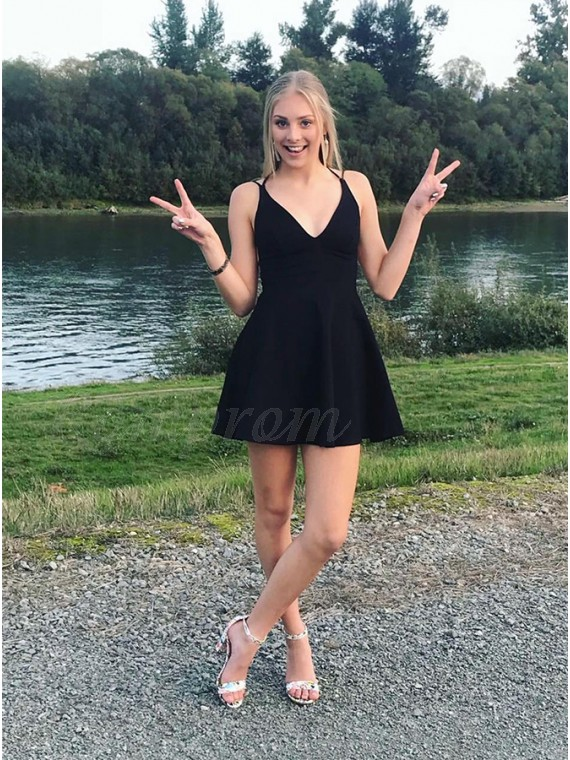 Simple A-Line Short Homecoming Dress Sleeveless Black Party Dress