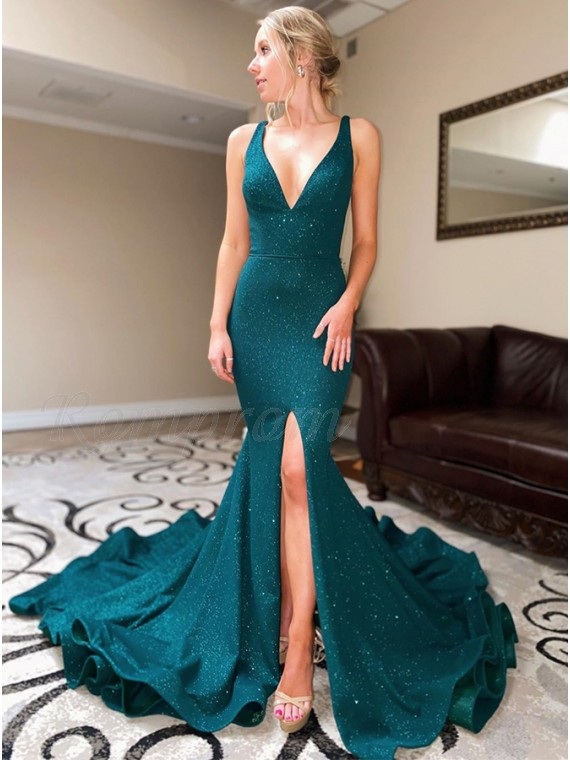 Elegant Backless Mermaid Evening Dress with Split