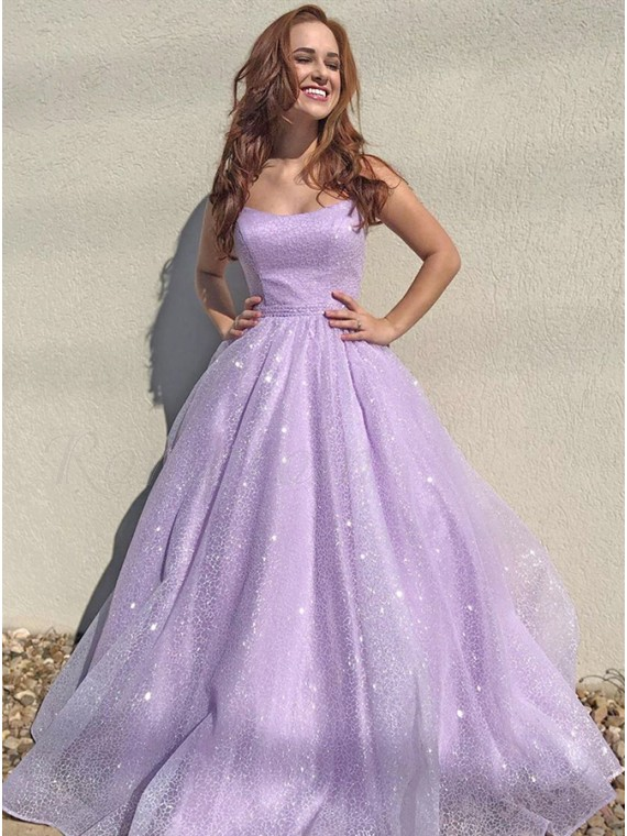 Lavender Sequins Long Prom Dress