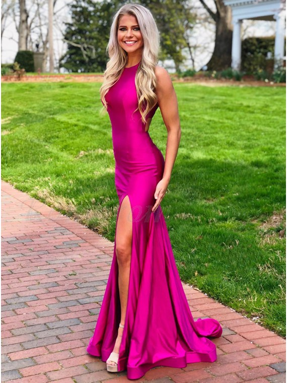 Pink Split Long Prom Dress