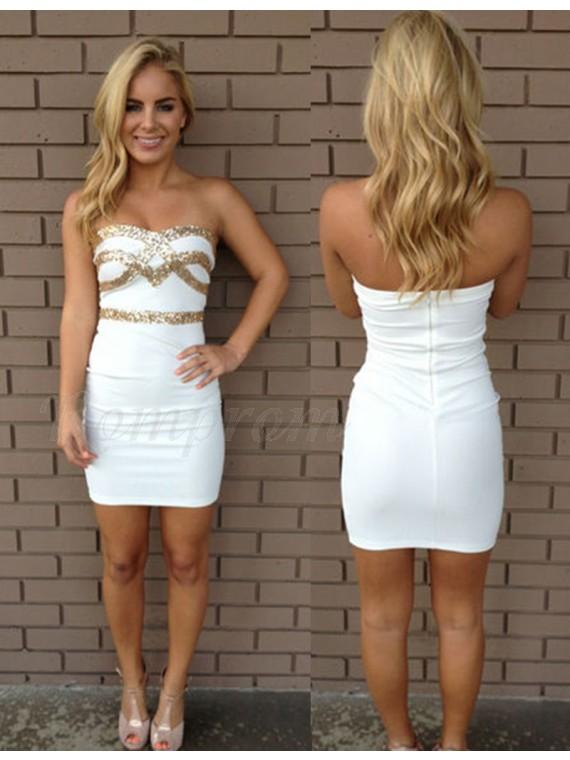 Sheath White Sweetheart Sleeveless Short Homecoming Cocktail Dress