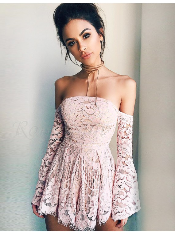 Line Off-the-Shoulder Long Sleeves Blush Lace Cocktail Homecoming Dress