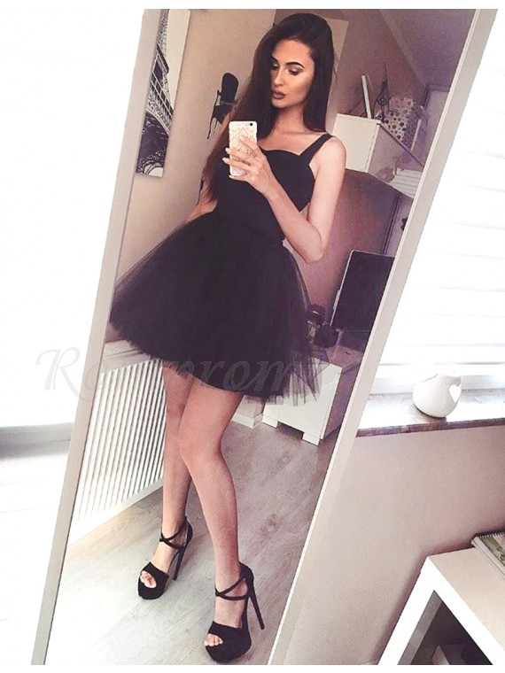 A-Line Straps Sleeveless Black Short Homecoming Cocktail Dress