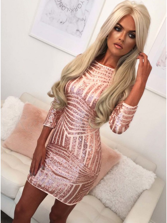 Sheath Crew 3/4 Sleeves Short Pink Sequined Homecoming Cocktail Dress