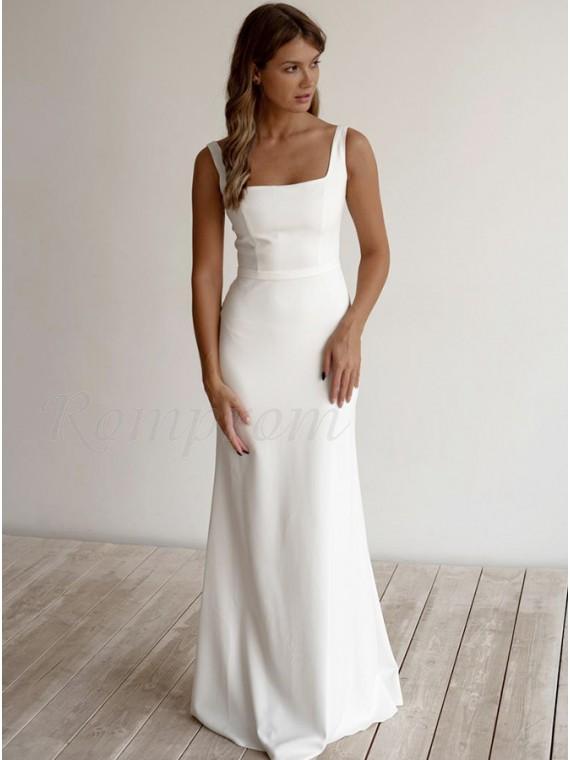White Sheath Square Neck Simple Wedding Dress