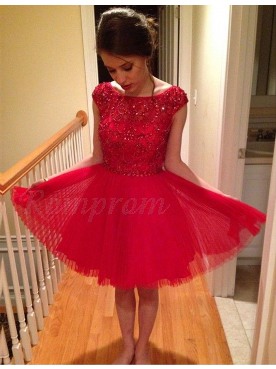 A-Line Bateau Cap Sleeves Knee-Length Red Homecoming Dress with Beading Lace
