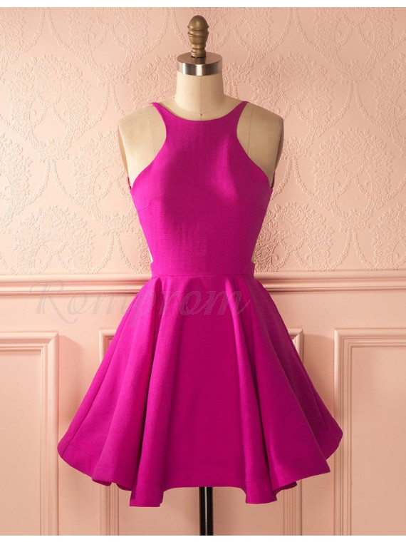 A-Line Jewel Backless Fuchsia Short Homecoming Cocktail Dress with Pleated