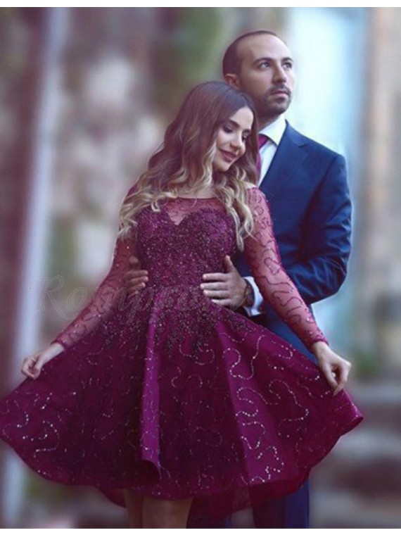 A Line Long Sleeves Short Burgundy Beaded Lace Promhomecoming Dress